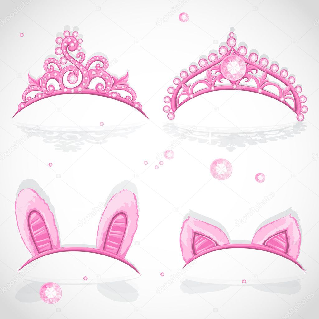 Shining pink girls tiaras with diamonds and carnival tabs on the hoop set — Stock Vector #14132502