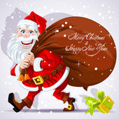 Cute Santa Claus carries a bag of gifts and Happy New Year wishes — Stock Vector