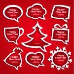 圣诞讲话气泡设置各种形状与新年的问候 — 图库矢量图片