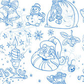Seamless Christmass background doodles in blue color — Stock Vector