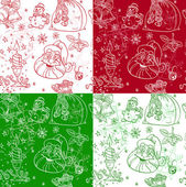 Seamless Christmass background doodles in coloe variations — Stock Vector