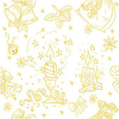 Seamless Christmass background doodles in holiday-gold color — Stock Vector