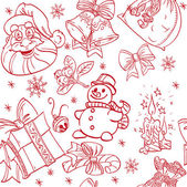 Seamless Christmass background doodles in red color — Stock Vector