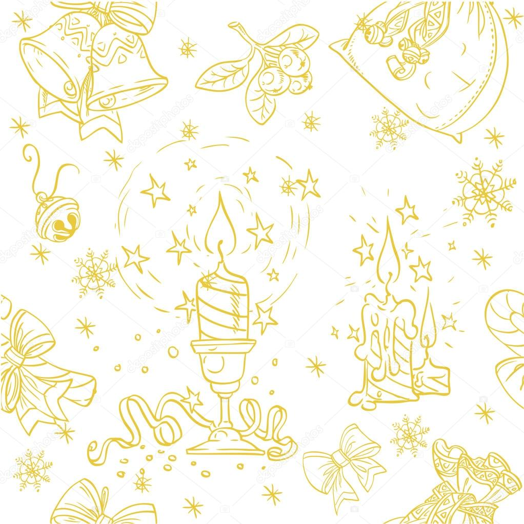 Seamless Christmass background doodles in holiday-gold color — Stock Vector #14274787