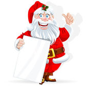Santa Claus with banner for text isolated on white background — Stock Vector