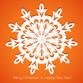 Applique snowflake Christmas card on juicy festive orange background — Stock Vector