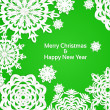 Applique snowflake Christmas green banner — Stock Vector