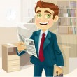 Stock Vector: Bbusiness man in morning office read a summary of the news