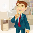 Stock Vector: Business man in office asked to be quiet