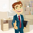 Stock Vector: Business min office with speech bubble gives his hand to greet