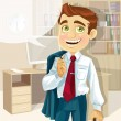 Business man in office with speech bubble gonna go home — Stock Vector