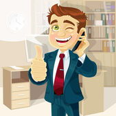 Business man in office reported good news on the phone and shows all is OK — Stock Vector