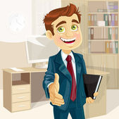 Business man in office with speech bubble gives his hand to greet — Stock Vector