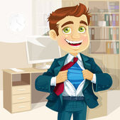 Super business man in office — Stock Vector