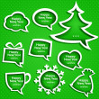 Stock Vector: christmas speech bubles set various shapes on green background with new year greetings
