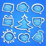 jul tal bubles ange olika former på blå bakgrund med nyårshälsningar圣诞讲话气泡在新年的问候与蓝色背景上设置各种形状 — 图库矢量图片
