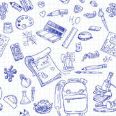 Tillbaka till skolan doodles sömlös bakgrund — Stockvektor
