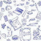 Zurück in der schule doodles nahtlose hintergrund — Stockvektor