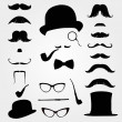 Mustaches and other retro accessories - Stock Vector