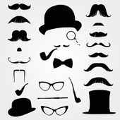Mustaches and other retro accessories — Vector de stock