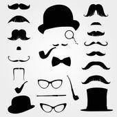 Mustascher och andra retro tillbehör — Stockvektor