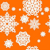 Seamless Christmass background from snowflakes applique on orange background — Stock Vector