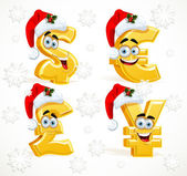 Christmas Monetary signs smiles - dollar, pound, euro and yen — Stock Vector