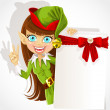Stock Vector: Lovely girl Christmas elf with banner for your congratulation