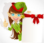 Cute girl the Christmas elf with a banner for your congratulation shows a hand a finger up - an approval sign — Stock Vector