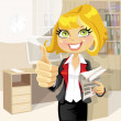 Pretty business woman in office with business papers showing that everything is OK — Stock Vector