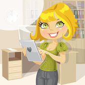 Pretty business woman in office with tablet computer — Stock Vector