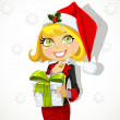 Festive business lady in Santa's cap gives a gift — Stock Vector