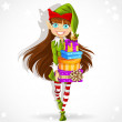 Stock Vector: Cute girl New Year's elf Santa's assistant gives gifts