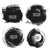 Vector beautiful handmade black strokes- backgrounds painted by brush — Stock Vector
