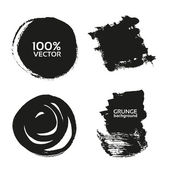 Vector grunge handmade black strokes- backgrounds painted by brush — Stock Vector