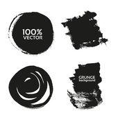 Vector grunge a mano trazos-fondos negros pintados con pincel — Vector de stock