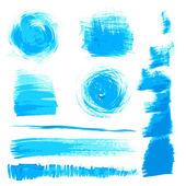 Vector hermoso trazos hechos a mano azules pintaron por cepillo — Vector de stock