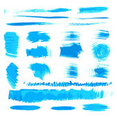 Vector handmade blue strokes set painted by brush — Stock Vector