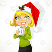 Cute girl in Santa hat hold cup of hot drink — ストックベクタ