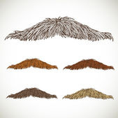 Classic retro thin mustache set — Stock Vector