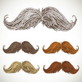 Classic retro twisted mustache set — Stock Vector