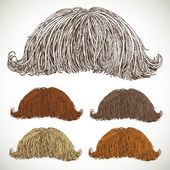 Classic retro lush mustache set — Stock Vector