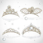 Shining gold girls tiaras with diamonds on the hoop set — Vector de stock