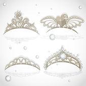 Tiaras de meninas de ouro com diamantes de brilho sobre o conjunto de aro — Vetorial Stock