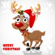 Cute Santa Reindeer with christmas decorations — Stock Vector