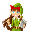 Stock Vector: Cute christmas Elf with pen ready to record wishes isolated on white background