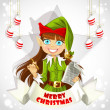 Stock Vector: Cute christmas Elf with pen ready to record wishes. Christmas poster