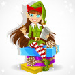 Stock Vector: Cute girl New Year's elf Santa's assistant ready to record wishes