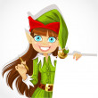 Stock Vector: Cute christmas Elf with pen ready to record wishes with banner