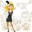 Stock Vector: Cute blond womwith mouthpiece on Retro party card